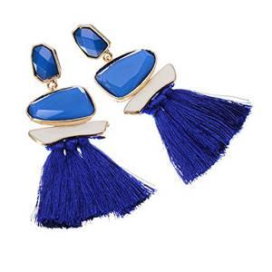 Jerollin Damen Ohrring Blau Ohrhänger Quaste Statement Ohrringe Tassel Anhänger Lange Earrings Frauen Vintage Modeschmuck Ethno Schmuck