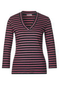 Street One Damen Ripp-Shirt mit Streifen in Grau,Pink