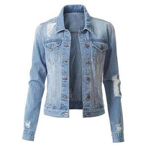 YYNUDA Jeansjacke Damen Kurz Übergangsjacke Destroyed Leicht Wash Denim Jacke Oversize Blau M