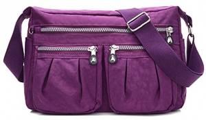 sportliche Handtasche / Schultertasche / Umhängetasche aus Nylon, Umhängetasche Bodybag (Lila)