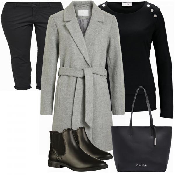 grauer mantel freizeit outfit FrauenOutfits.de