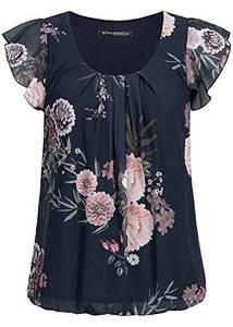 Styleboom Fashion® Damen Chiffon Top 2-lagig Blumen Muster Navy blau
