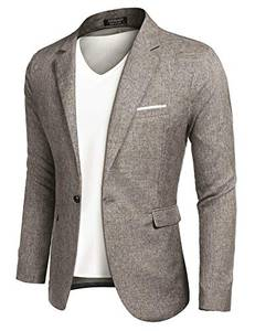 MAXMODA Men''s Blazer Slim Fit Jacket with Front Pocket Sporty Jacket Leisure Suit - Khaki - Small