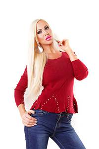 OSAB-Fashion 4918 Damen Feinstrick Pullover Langarm Hüftlang Rundhals Perlen Schößchen