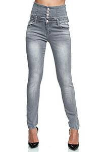 Elara Damen Stretch Jeans Skinny High Waist Chunkyrayan YH8323 Grey 44 (2XL)