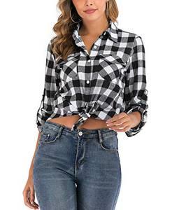 Enjoyoself Damen Karrierte Bluse Langarm Karo Flanell Hemden Baumwolle Button-down Hemdbluse für Alltag und Oktoberfest,Schwarz-Weiß,L