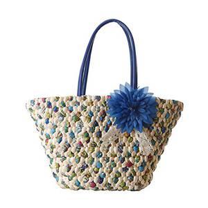 GWELL Damen Bohemia Strohtasche Strandtasche Schultertasche mit Reißverschluss Sommer Tasche Damentasche Handtasche Urlaub blau