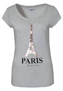 Sublevel Damen T-Shirt mit Wendepailletten Paris | Elegantes Basic Shirt Aus Hochwertigem Jersey Material Light-Grey M