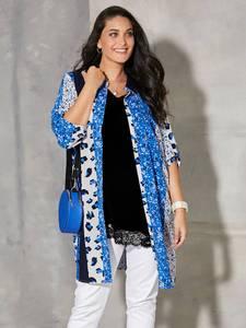 Longbluse MIAMODA Blau/Royalblau/Weiß