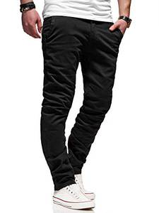 REHYPE Herren Chinohose Regular Slim Fit Chino Hose Basic Stretch Jeans H-551 Schwarz W32/L32