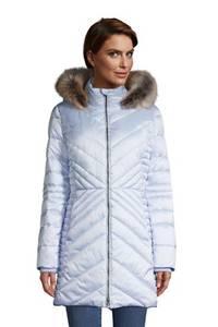 Warmer Wintermantel THERMOPLUME mit Fleece, Damen, Größe: S Tall, Blau, by Lands'' End, Soft Dunst Blau