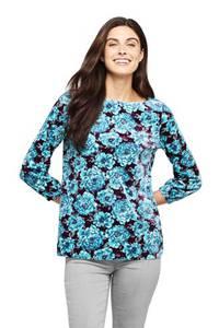 Gemustertes Samtshirt, Damen, Größe: XS Normal, Blau, Polyester-Mischung, by Lands'' End, Edelstein Türkis Floral
