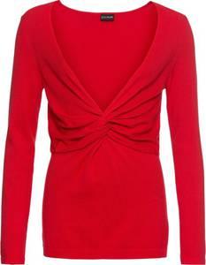 Feinstrickpullover mit Knotendetail langarm  in rot für Damen von bonprix