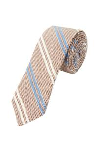 s.Oliver BLACK LABEL Krawatte dunkelbeige / himmelblau / weiß
