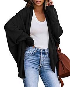 Zanzea Damen Langarm Strickjacke Oversize Pullover Outwear Cardigan Coat Longshirts Cover up Schwarz Small