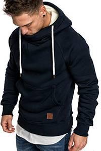 Amaci&Sons Herren Turtle-Neck Kapuzenpullover Sweatjacke Pullover Hoodie Sweatshirt 4025 Navyblau M