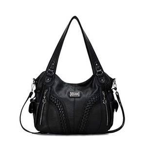 KL928 Damen Handtasche Leder Taschen Umhängetaschen Schultertaschen Henkeltaschen Hobo Tasche Weiches Damentasche für Frauen (1555-Schwarz)