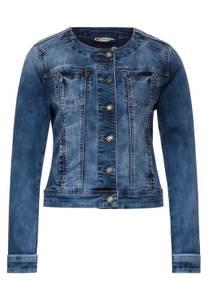 Street One Damen Kragenlose Denim Jacke in Blau