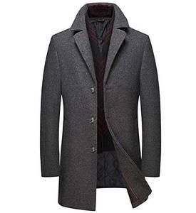 Mirecoo Herren warm Wollmantel Kurzmantel Winter Jacke Business- Gr. M, Grau 2