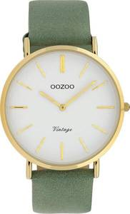 OOZOO Quarzuhr ''C9966'' gold / hellgrün / weiß