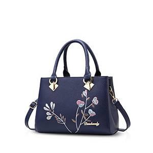 NICOLE&DORIS Retro Frauen Top Handle Handtaschen Tote Geldbörse Schultertasche Crossbody Tasche PU Leder Blau