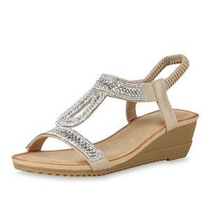 SCARPE VITA Damen Keilsandaletten Strass Profil Sandaletten Wedges Schuhe 165187 Creme Strass 37