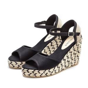 LASCANA Sandale schwarz / beige