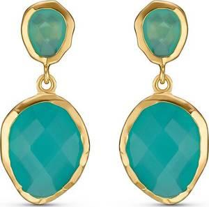 QOOQI Damen-Ohrhänger ''Sterling Silber 925er'' gold / türkis