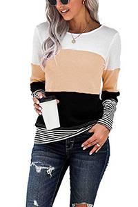 KINGFEN Damen Pullover Strick Lang Blusen Damen Winterpullover T-Shirts Longbluse Strickpulli Langer Bluse Damen Langarm Sweatshirts Aprikose M