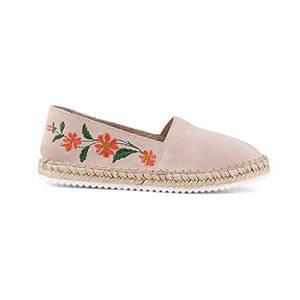 Cox Damen Velours-Espadrille in Rosa mit floralem Muster, Slipper mit Bast-Sohle Rosa Rauleder 38
