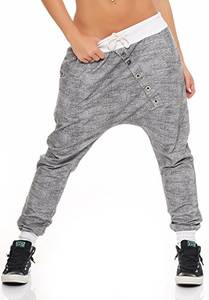Malito Damen Jogginghose mit Knopfleiste   Sporthose meliert   Baggy zum Tanzen   Sweatpants - Trainingshose 7398 (weiß)