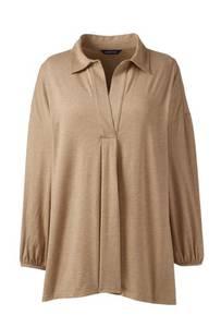 Shirt aus Baumwoll/Modalmix, V-Ausschnitt und Vorderfalte, Damen, Größe: S Normal, Braun, by Lands'' End, Vikunja-Meliert