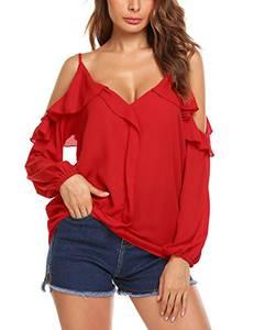 Parabler Damen Chiffon Bluse Schulterfrei V-Ausschnitt Langarmshirts Carmenbluse Cut Out Shirt Loose Fit Oberteile Rot M
