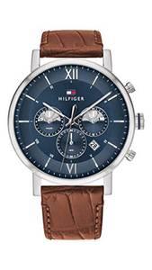 Tommy Hilfiger Herren Analoger Quarz Uhr mit Echtes Leder Armband 1710393