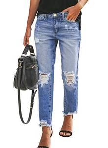 HAPPY SAILED Damen Schick Löcher Jeanshosen Boyfriend Slim Fit Denim Hosen Jeans S-XXL
