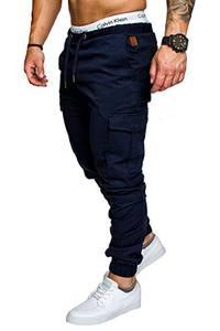 Amaci&Sons Jogger Cargo Herren Chino Jeans Hose 7001 Navyblau W29