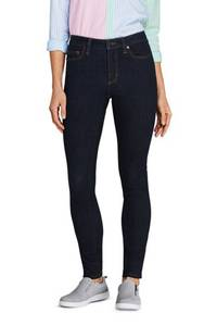 Skinny Jeans Mid Waist in Petite-Größe, Damen, Größe: 34 28 Petite, Blau, Baumwoll-Mischung, by Lands'' End, Tiefes Indigo