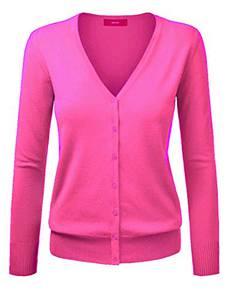 Amayar, Damenstrickjacke, Cardigan, mit Knopfverschluss Gr. Medium, hot pink