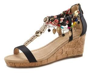LASCANA Sandalette schwarz / mischfarben