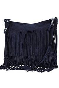 AMBRA Moda Damen Handtasche Ledertasche Umhängetasche Fransentasche Schultertasche Damentasche Wildleder 32 cm x 29 cm x 2 cm WL809 (Marineblau)