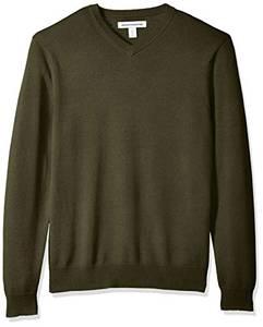 Amazon Essentials Herren V-neck Sweater Pullover, Olive Heather, M