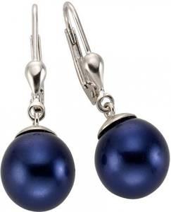 FIRETTI Paar Ohrhänger mit Muschelkernperlen blau / silber