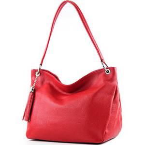 modamoda de - T154 - ital Schulter-/Umhängetasche aus Leder, Farbe:Rot