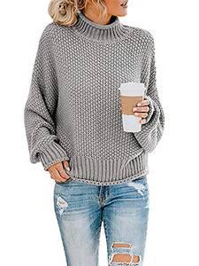 Yidarton Pullover Damen Elegant Winter Rollkragenpullover Strickpullover Grobstrickpullover Casual Lose Pulli Langarm Oberteile (3261-Grau, Medium)