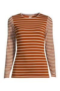 Shirt aus Baumwoll/Modalmix Gestreift in Petite-Größe, Damen, Größe: M Petite, Rot, by Lands'' End, Satt Rot Gestreift
