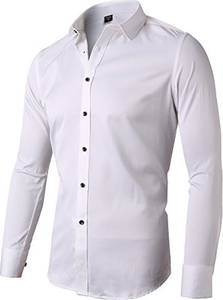 INFlATION Herren Hemd aus Bambusfaser umweltfreudlich Elastisch Slim Fit für Freizeit Business Hochzeit Reine Farbe Hemd Langarm,DE M (Etikette 41),Weiß