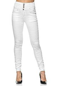 Elara Damen Jeans High Waist Push Up Skinny Fit Chunkyrayan 1949-1 White-42 (XL)