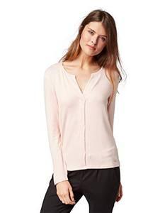 TOM TAILOR Damen Langarm V-Auschhnitt T-Shirt, Rosa (Rose Smoke Melange 5845), Medium