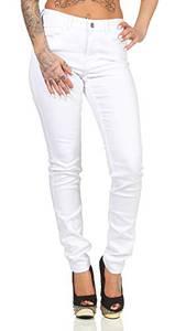 VERO MODA Damen Jeans Hose Seven Shape Up schmales Bein 10193356 Bright White Skinny L/32