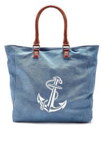 LASCANA Strandtasche blau / weiß